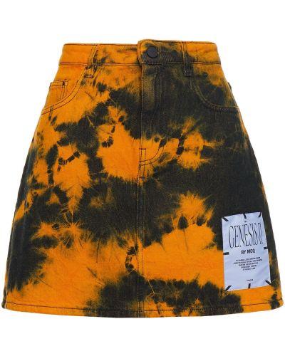 Синяя джинсовая юбка мини с заплатками Mcq Alexander Mcqueen