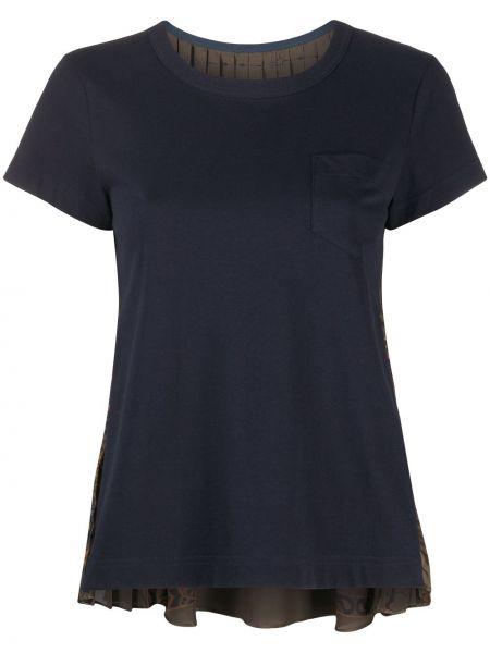 Хлопковая синяя с рукавами футболка Sacai