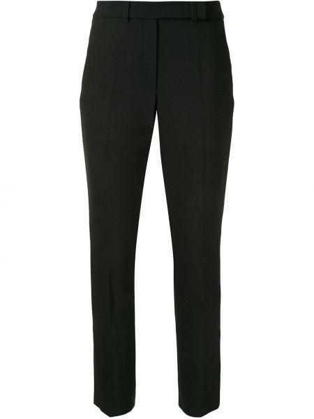 Шерстяные прямые черные укороченные брюки с высокой посадкой Paule Ka