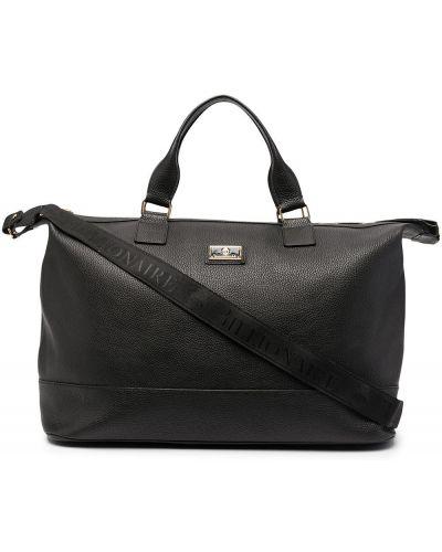 Черная кожаная дорожная сумка на молнии Billionaire