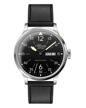 Часы механические водонепроницаемые с кожаным ремешком Atlantic