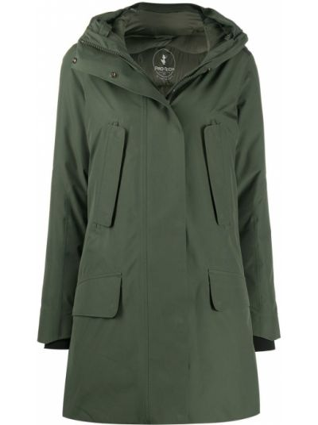 Льняное зеленое пальто классическое с капюшоном Save The Duck