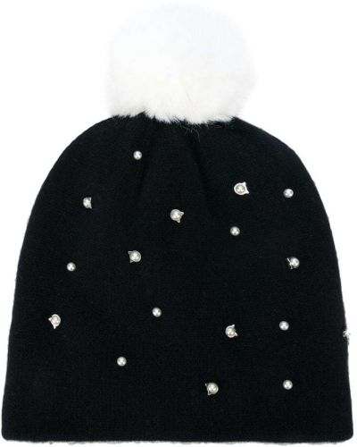 Вязаная шапка с помпоном с жемчугом Karl Lagerfeld