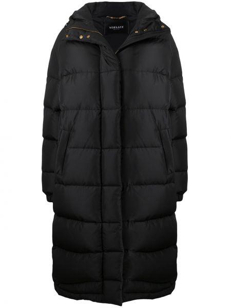 Klasyczny czarny płaszcz z kapturem Versace