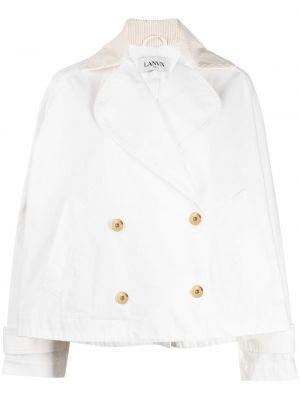 Ватная белая длинная куртка двубортная Lanvin