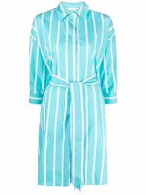 Синее платье-рубашка с поясом в полоску Sara Roka