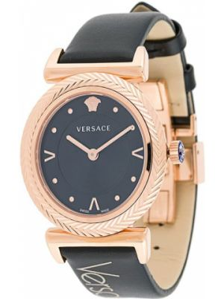 Zegarek kwarcowy na skórzanym pasku zabytkowe Versace