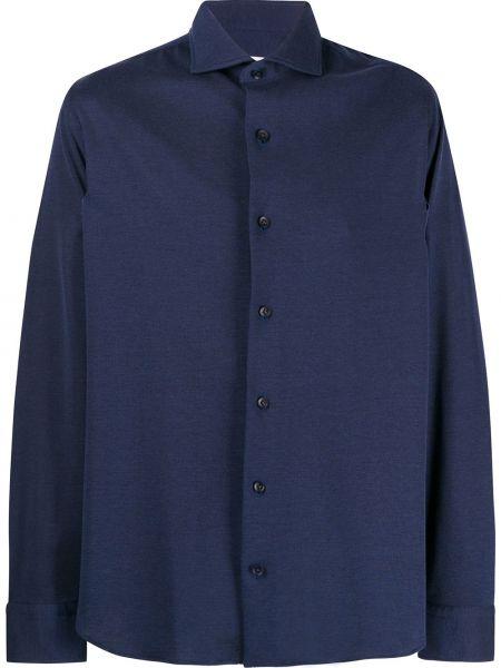 Темно-синяя рубашка с воротником с манжетами Salvatore Piccolo