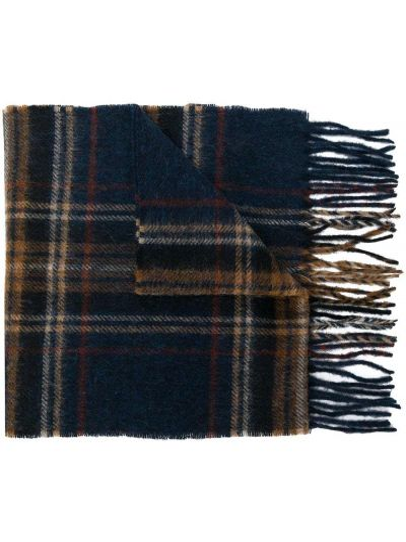 Синий шерстяной шарф в клетку Barbour
