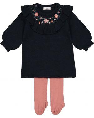 Платье с рукавами длинное хлопковое La Redoute Collections