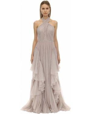 Платье с поясом с открытой спиной с американской проймой Alberta Ferretti