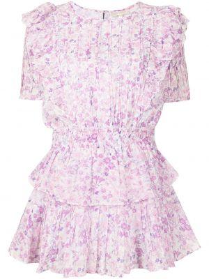 Платье мини в цветочный принт - фиолетовое Loveshackfancy