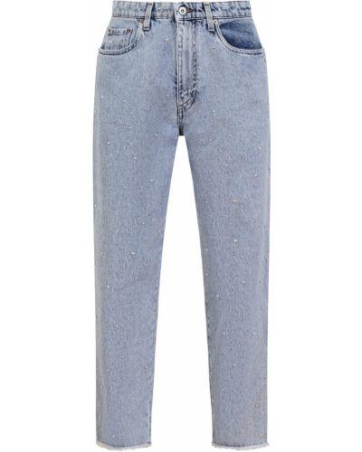 Прямые джинсы со стразами металлические Miu Miu