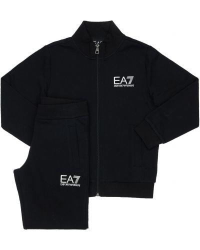 Хлопковые спортивные брюки эластичные Ea7 Emporio Armani