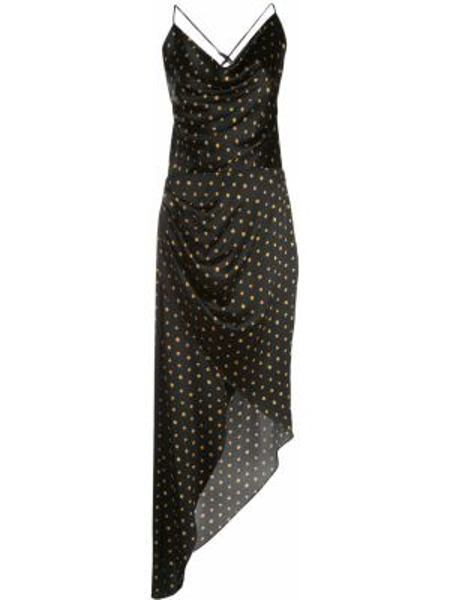 Czarna sukienka asymetryczna w grochy Haney