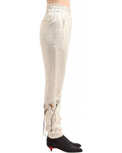 Białe spodnie z wysokim stanem z haftem Sonia Rykiel
