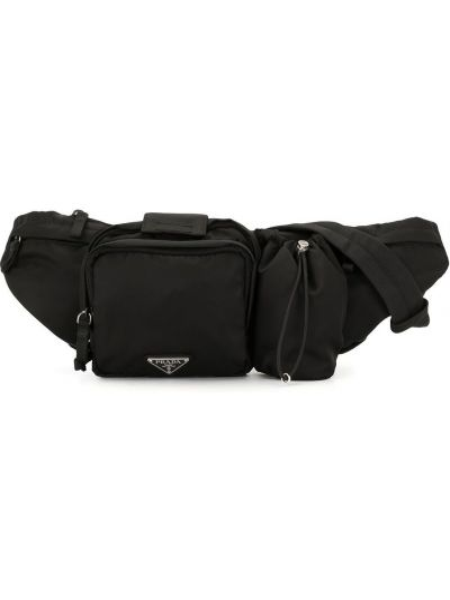 Черная нейлоновая поясная сумка на молнии с карманами Prada Pre-owned