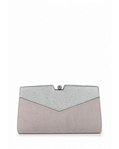 Клатч замшевый серебряного цвета Dorothy Perkins