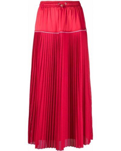 Красная плиссированная юбка миди сетчатая Liu Jo