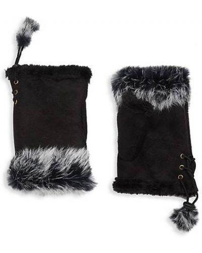 Czarne rękawiczki bez palców koronkowe sznurowane Adrienne Landau