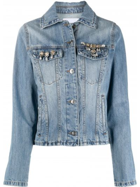 Хлопковая синяя джинсовая куртка с воротником Ermanno Scervino
