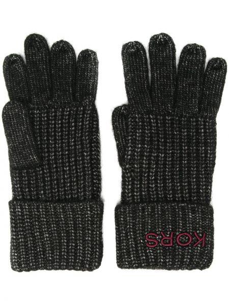 Czarne rękawiczki z nylonu z haftem Michael Kors