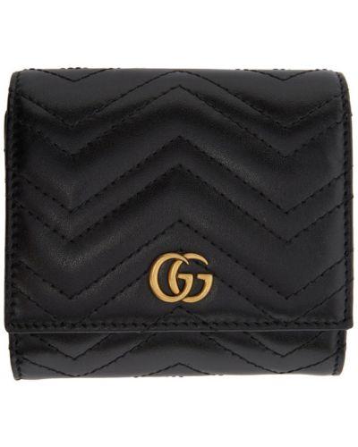 Skórzany pikowana czarny portfel na monety z gniazdem Gucci