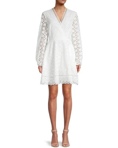 Белое платье мини с длинными рукавами с декольте Ted Baker London
