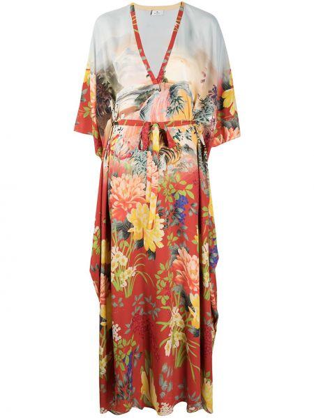 Шелковое красное платье в цветочный принт Etro