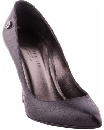 Кожаные туфли на каблуке осенние Philipp Plein
