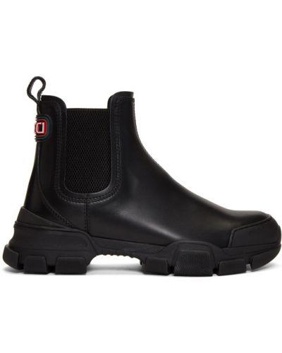 Кожаные черные ботинки челси на каблуке Gucci