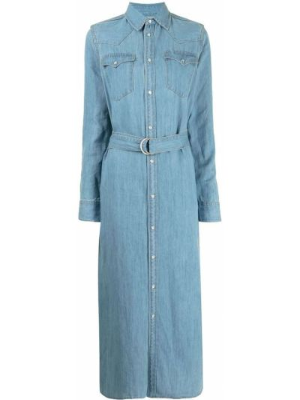 Платье макси с длинными рукавами - синее Polo Ralph Lauren