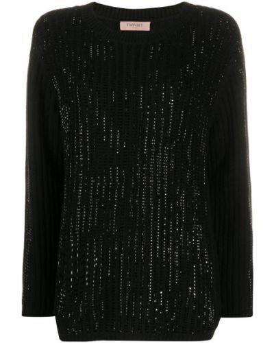 Шерстяной черный джемпер со стразами с вырезом Twin-set