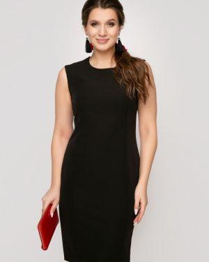 Черное вечернее платье с капюшоном на молнии для офиса Belluche