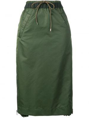 Нейлоновая спортивная юбка мини на резинке хаки Sacai