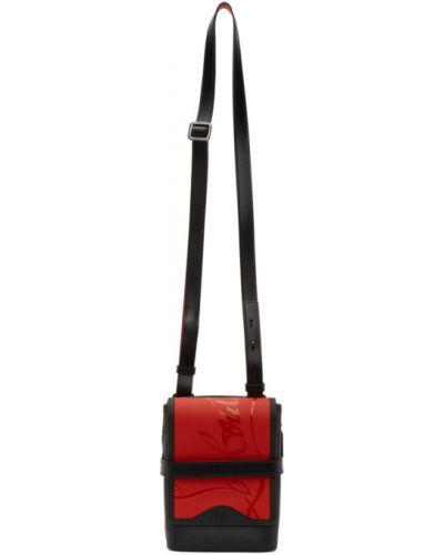 Черная текстильная сумка мессенджер с заплатками с карманами Christian Louboutin