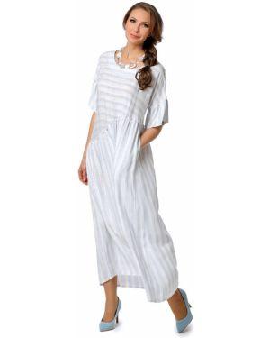 С рукавами свободное прямое летнее платье с карманами Dizzyway