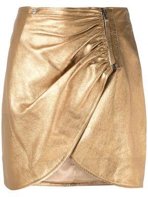 Кожаная юбка мини - желтая Olympiah