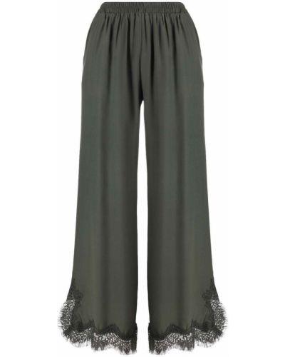 Шелковые зеленые укороченные широкие брюки Gold Hawk