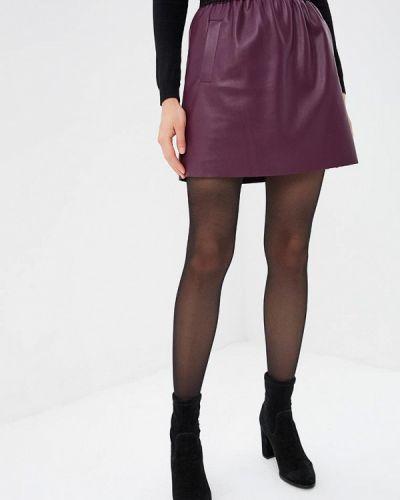 Кожаная юбка фиолетовый весенняя Love Republic