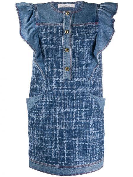 Синее джинсовое платье без рукавов с вырезом Philosophy Di Lorenzo Serafini