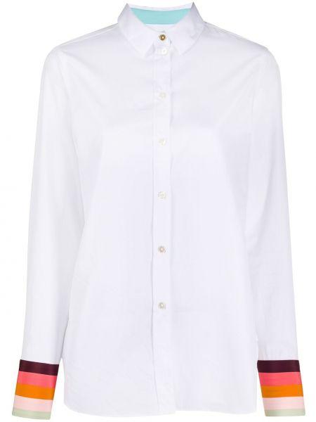 Белая шелковая классическая рубашка с воротником на пуговицах Paul Smith