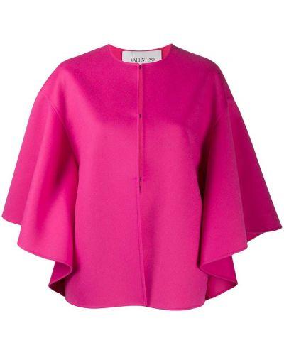 Розовый шерстяной кейп двусторонний Valentino
