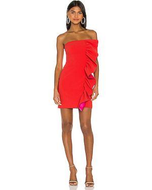Шелковое платье мини с декольте на молнии с оборками Likely