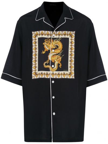 Koszula krótkie z krótkim rękawem z kołnierzem z nadrukiem Versace
