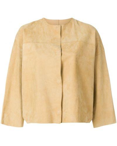 Кожаная куртка с потайной застежкой Yves Salomon