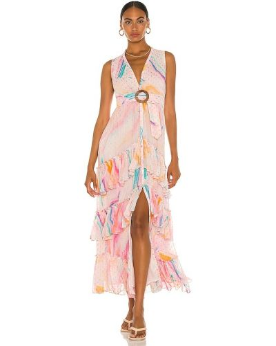Różowa sukienka długa z wiskozy z paskiem Rococo Sand
