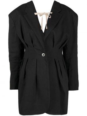 Шерстяной черный удлиненный пиджак с воротником Jacquemus