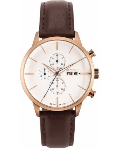 Brązowy złoty zegarek kwarcowy klamry Gant