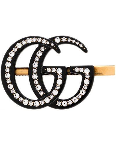 Czarny spinka do włosów metal przeoczenie z ozdobnym wykończeniem Gucci